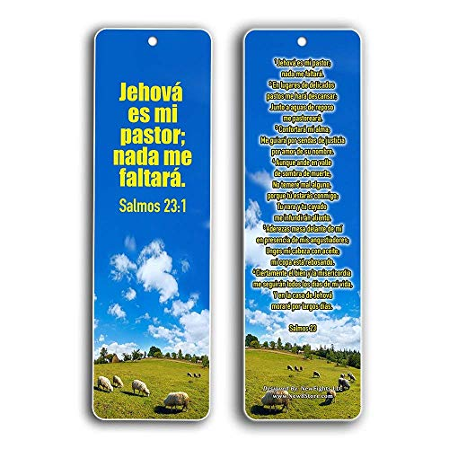 Spanish Bookmarks Salmo 23 (60-Pack) - Psalm 23 The Lord is My Shepherd Español Prayer Cards - Religious Christian Gift to Encourage Men Women Teens Children - War Room Decor - Stocking Stuffers