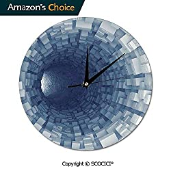 SCOCICI 10 Inch Round Wall Clock Endless Tunnel with Fractal Square Shaped Segment Movement Silent Non-Ticking for Kitchen Study Office Room Decorations