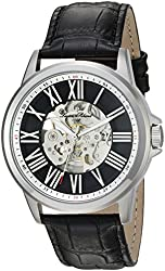 Lucien Piccard Men's 'Calypso' Automatic Stainless Steel and Black Leather Casual Watch (Model: LP-12683A-01)