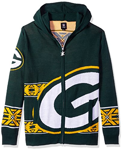 Green Bay Packers Full Zip Hooded Sweater Double Extra Large by Forever Collectibles