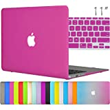 """Easygoby 2in1 Case For MacBook Air 11-inch - Matte Silky-Smooth Soft-Touch Snap-on Hard Shell Case Cover Skin For Apple MacBook Air 11.6"""" + Keyboard Cover - Hot Pink"""