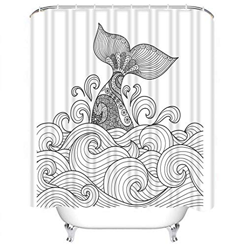 (Wesbin Shower Curtain Set Whale Tail in the Wavy Ocean Lines for Adult Coloring Book Sign and Desi Bathroom Decor Set with 12 Hooks 72X78 Inches Waterproof Polyester Fabric Shower Curtain for Bathroom)