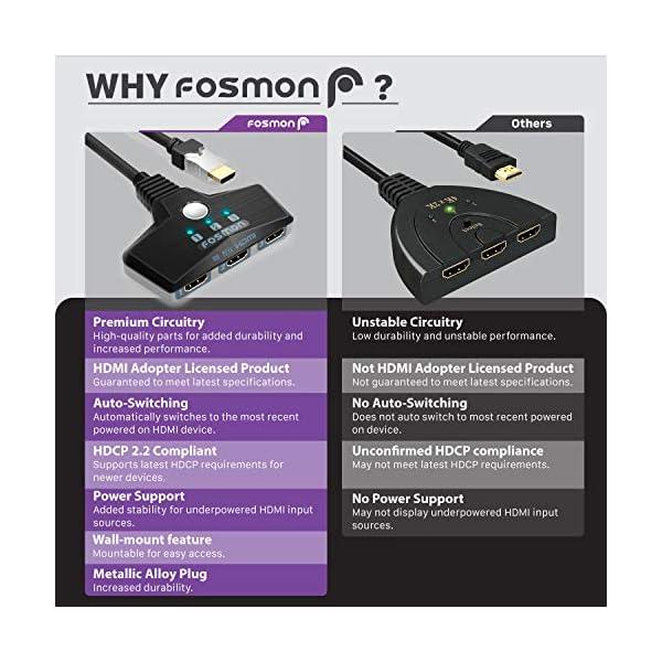 Fosmon 3-Porte Interruttore HDMI 4K 30Hz, 3x1 Switch HDMI Automatico Selettori Switcher Auto UHD HDR 3D Full HD 1080p… 2 spesavip