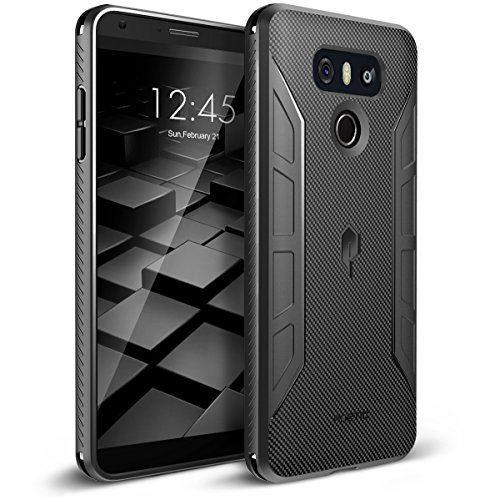 Poetic Karbon Shield Slim Fit LG G6 TPU Case with Anti-Slip Side Grip and Carbon Fiber Texture for LG G6 Black