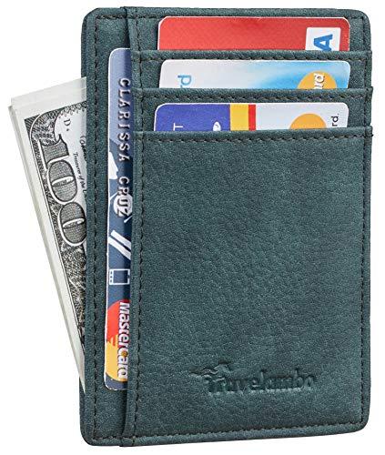 Travelambo Front Pocket Minimalist Leather Slim Wallet RFID Blocking Medium Size (Oldo Green Knight)