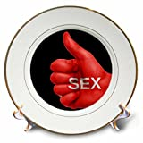 3dRose RinaPiro - Sex Quotes - Sex. Red and black. - 8 inch Porcelain Plate (cp_266084_1)