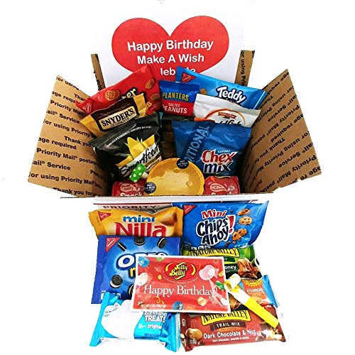 Birthday Care Package for College Students: Men, Women, Military with Snacks Variety -