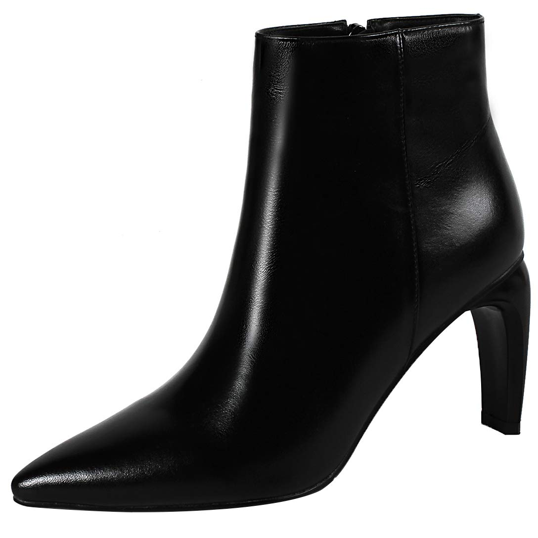 Black Eithy Women's Shaccu Stiletto Ankle-high Zipper Leather Boots