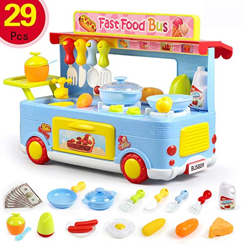 TKI-S 29 Pcs Children's Campus Fast Food Bus Cooking Pretend Role Playing Toy Set for Child 3 Years Old and Above ( Blue, 48x12x34 cm )