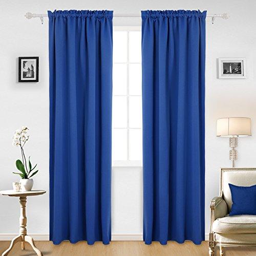 royal blue blackout curtains rod