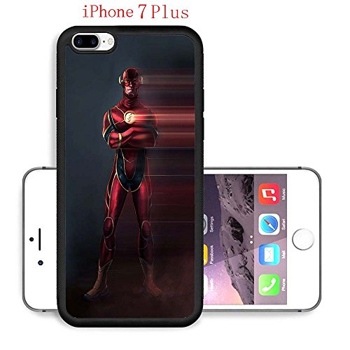 iPhone 7 Plus Case, The TV Series The Flash 59 Drop Protection Never Fade Anti Slip Scratchproof Black Soft Rubber (Female Cartoon Characters Names)
