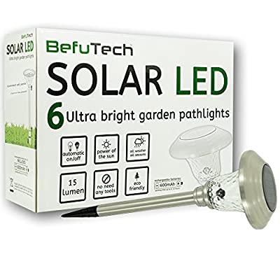 Befutech Solar Powered Lights (6-Pack) Outdoor Solar Lights | Driveway lights | Solar Garden Lights | Solar Pathway Lights | Stainless Steel, Waterproof | Automatic, Easy Installation