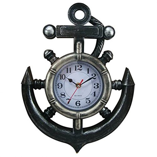 Hampton Nautical Y-67039 Decorative Pewter Ship Wheel & Anchor Wall Clock 15