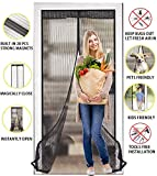 Magnetic Screen Door, Heavy Duty Mesh Curtain, Instant Hand-free Screen Door with 28 Strong Magnets, Reinforced Full Frame Sealed Windproof Mosquito Fly Bug Free Net, Best Fits Door Size Up to 37''x81''