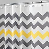 "mDesign Decorative Chevron Print Stall-Sized Water Repellent, Fabric Shower Curtain for Bathroom Showers and Stalls, Machine Washable – 54"" x 78""– Gray/Yellow Zig Zag Geometric Pattern, White Ground"