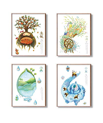 Modern More Art-The Four Seasons Original Fantasy Artwork Fine Print Decor Wall Gift For Home Kids lady-Unframed Poster Art Painting-8x10 11x14in-(Set of 4)(Spring Summer Autumn Winter-1) from Modern More Art
