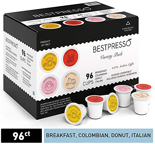 Bestpresso Coffee, Variety Pack Single Serve K-Cup, 96 Count. Includes Breakfast, Colombain, Donut and Italian (Compatible With 2.0 Keurig Brewers) 8 Packs Of 12 Cups