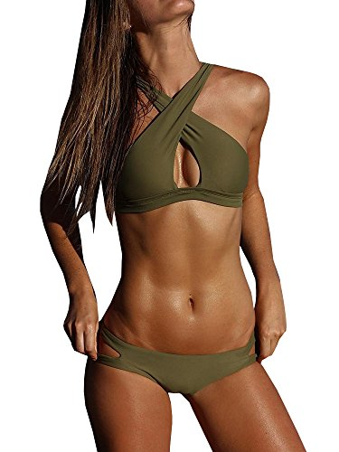Karlywindow Womens Two Piece Side Strap Bottom Halter Neck Criss Cross Swimsuit...
