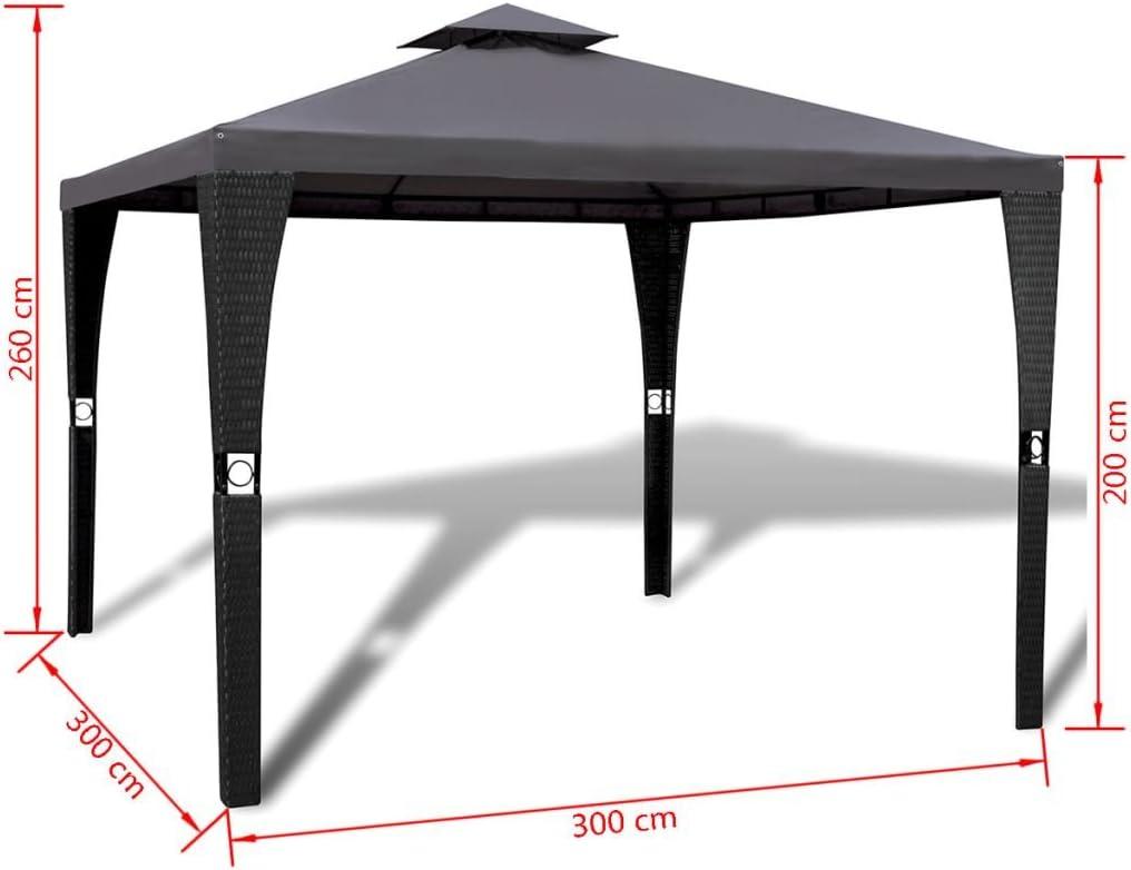 vidaXL Cenador de Jardín Ratán Sintético Negro Toldo Gris 3x3 m ...