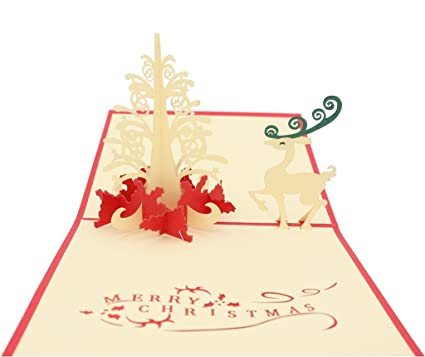 isharecards pop up 3d christmas cards christmas tree greeting card with deer mxs059 - Deer Christmas Cards