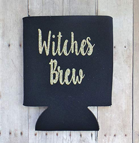 Witches Brew Black Can Drink Sleeve - Halloween Beer Cooler - Soda Can Holder - Set of 2 -
