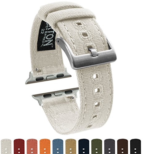 BARTON Canvas Apple Watch Bands - White - For 42mm Apple Watch, Watch 2 & Watch 3
