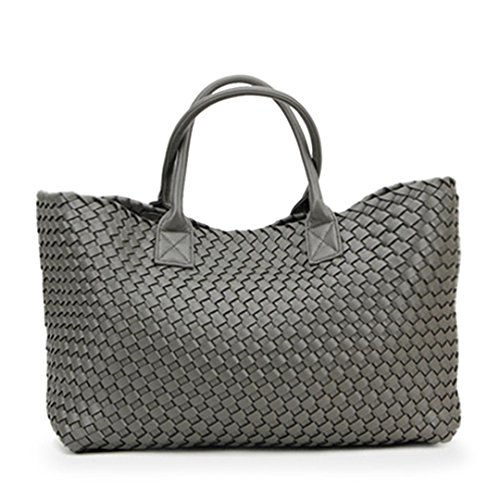Handbag Dark New Capacity Large Bag Shoulder Woven Grey Winter Trendy Hand 1wz1r0