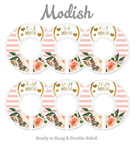 (Modish Labels Baby Nursery Closet Dividers, Closet Organizers, Nursery Decor, Baby Girl, Hearts, Flowers, Pink,)