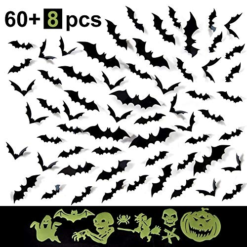 Ruiao PVC 3D Bat Wall Decal Decorative 60 Pack Scary Halloween Decorations Indoor Wall Sticker Halloween Eve Decor Home Window Decoration Set Additional 8 Pack Halloween Horror Wall Sticker