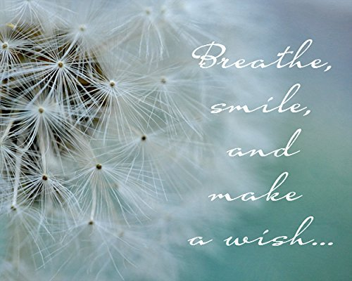 Dandelion Print, Inspirational Wall Art, Breathe Smile Make a Wish Quote Picture, Inspirational Photographic Print, Dandelion Wall Decor, Large Photograph from 5x7 to 24x30 Shabby Chic Decor