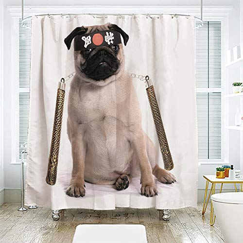 scocici Simple Creative Bath Curtain Suit Shade Curtain,Pug,Ninja Puppy with Nunchuk Karate Dog Eastern Warrior Inspired Costume Pug Image Decorative,Cream Black Gold,94.4