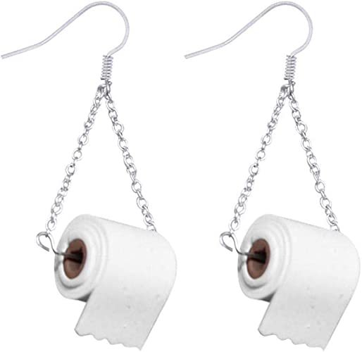 Hellblau-rosa Klopapier Ohrringe Toilettenpapier Ohrhänger handmade Klorolle