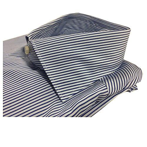 XACUS camicia uomo rigata azzurro/celeste/bianco 100% cotone ALBINI PIUMINO 41-16