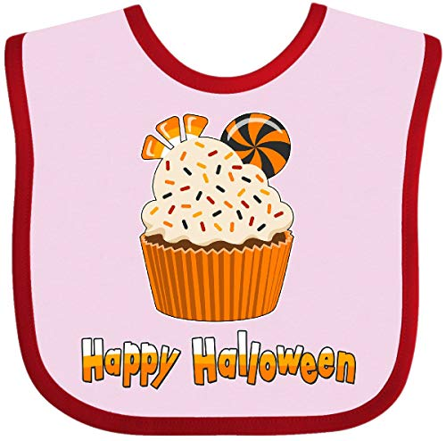Inktastic - Happy Halloween- cute candy corn cupcake Baby Bib Pink and Red 2bc4c ()