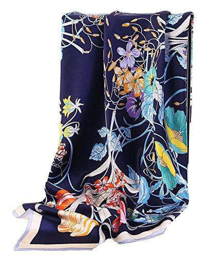 Grace Scarves 100% Silk Scarf, Extra-Large, Flowers & Vines, Dark Blue ()
