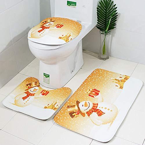 - Hot Tuscom 3Pcs/Set PVC Mesh Bottom Non-Toxic Christmas Bathroom Non-Slip Style Mats| Pedestal Rug/Lid Toilet Cover/Bath Mat (Golden)