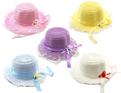 Girls Sunflower Straw Tea Party Hat Set (Floral) by Dr.Luck