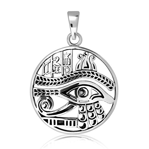 WithLoveSilver 925 Sterling Silver Round Ancient Egyptian Eye of Ra Good Luck Pendant