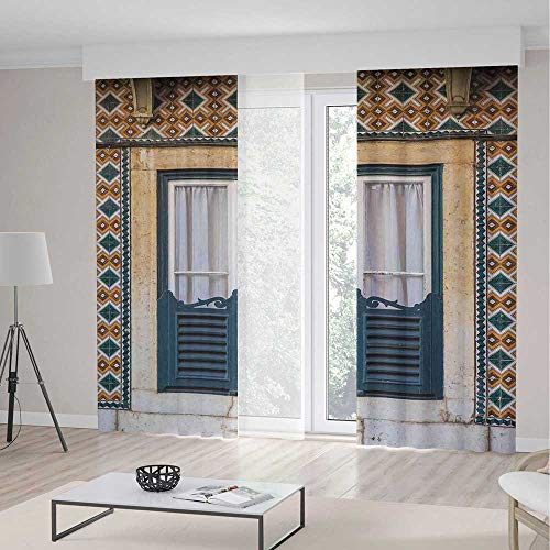 TecBillion Decor Collection,Shutters,for Bedroom Living Dining Room Kids Youth Room,Window of Old Architecture in Lisbon Portugal Touristic Town Cultural Nostalgic2 Panel Set,70W X 98L Inches