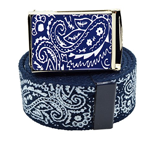 "Canvas Military ""Navy Blue"" Bandana Pattern Web Belt & Buckle 60 inches"
