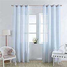 M-Egal 1PC Warp Knitting Half Shading Screens Light Filtering Voile Panels Sheer Window Curtains