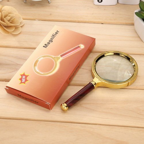 5X Handheld Magnifier Newspaper Reading Hobby Observation Classroom Science Magnifier Loupe Glasses 5X with Wood-Like Handle(80mm)