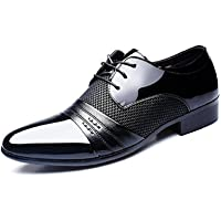 Mens Business Shoes Dress, Derby Pointed Toe Lace up Leather Oxford Wedding Fashionable Uniform Vintage Office Summer Brogue Black Brown 5-12UK