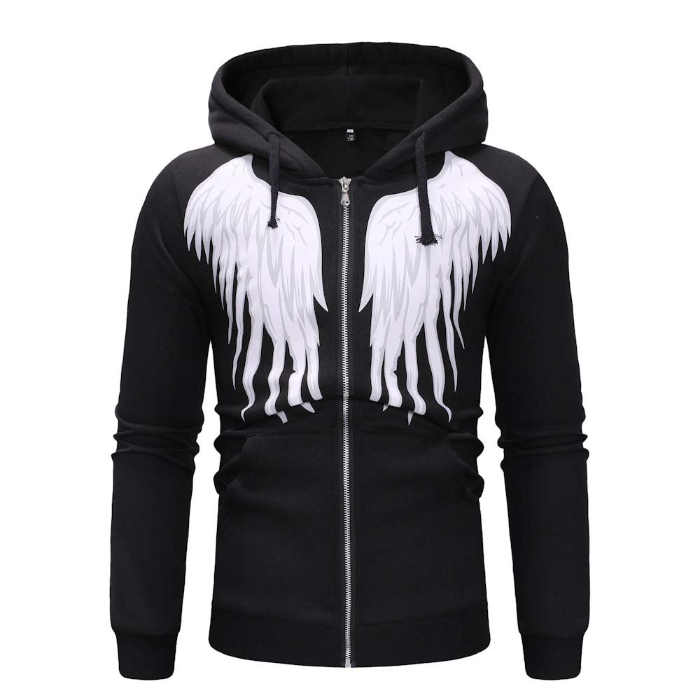 77f6658c Hunzed Men【Zipper Wing Pattern Hoodie Long Sleeve Sport Sweatshirt 】 Mens  Fashion Casual Slim Pullover Solid Blouse Tops at Amazon Men's Clothing  store: