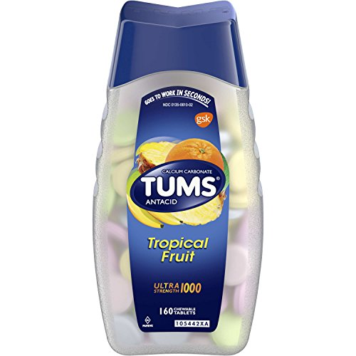 TUMS Ultra Strength Assorted Tropical Fruit Antacid Chewable Tablets for Heartburn Relief, 160 count ()