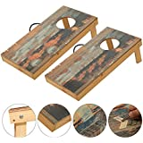 OOFIT Solid Wood Cornhole Set Junior Size 1 x 2 Feet, Portable Sports Cornhole Game Boards Set, Toss Game 8 Bean Bags
