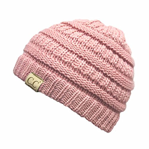 Hatsandscarf CC Exclusives Solid Ribbed Children Beanie (YJ-847-KIDS) (Pale Pink - Kids Pale