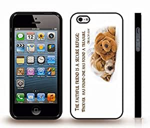 "iStar Cases? iPhone 5/5S Case with ""Real friends don't have to..."" Inspirational, White Font, Jumping on Beach , Snap-on Cover, Hard Carrying Case (White)"