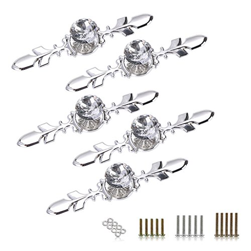 Sumnacon Drawer Dresser Knobs Pull Handles - Crystal Glass Diamond Decorative Knobs with Plate, Cabinet Cupboard Door Knobs with Screws for Kitchen Bathroom Office Decoration Pack of 5 (4.7 inch) by Sumnacon