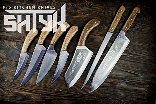 Professional Kitchen Knife Set, Chef Knife Set, Engraved Butcher Knife, Handmade Knives, Chef Gifts, Santoku, Kitchen Knife, Gift Set, 7pcs ()
